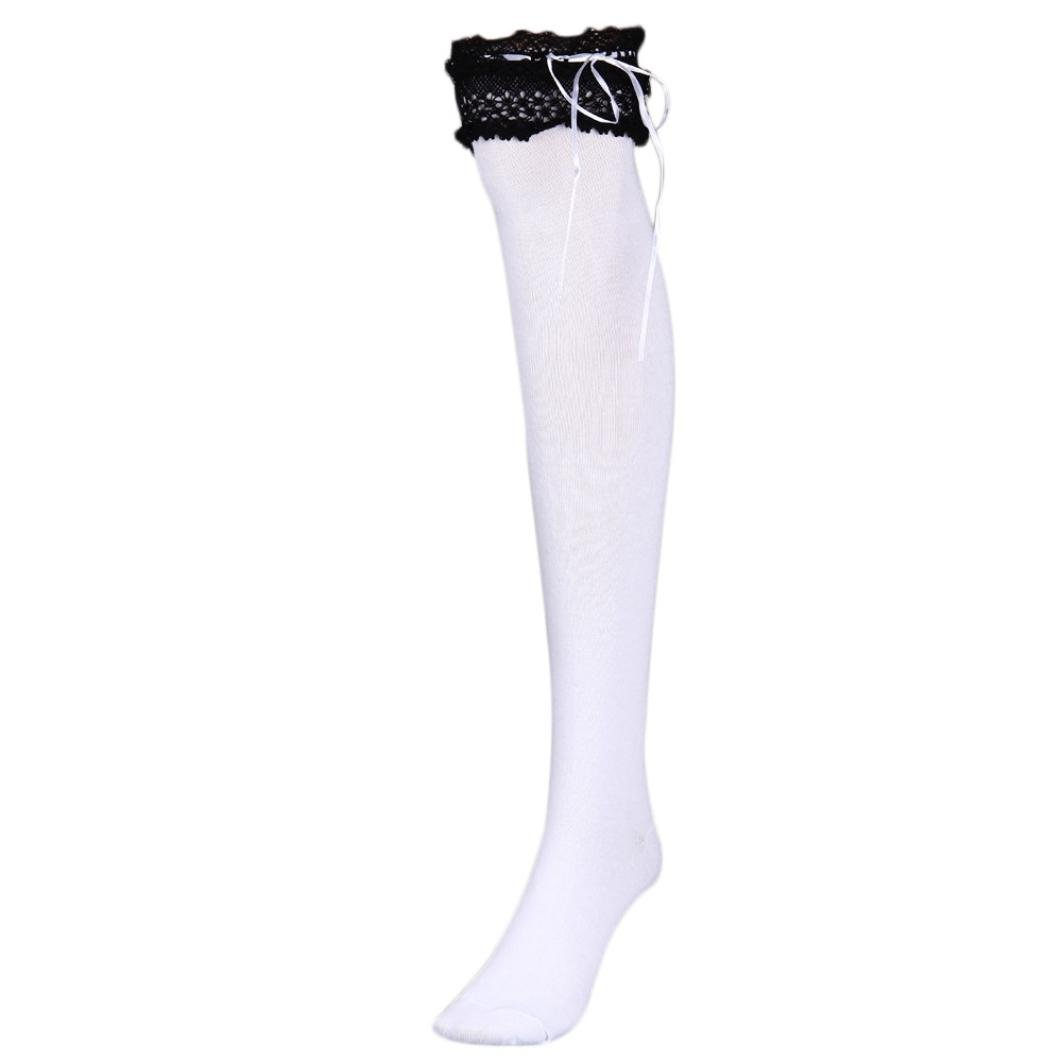 f5bb1711906ce Voberry Womens Girls Lace Top Thigh High Socks Over Knee Leg Warmer  Leggings (Black 1) at Amazon Women's Clothing store: