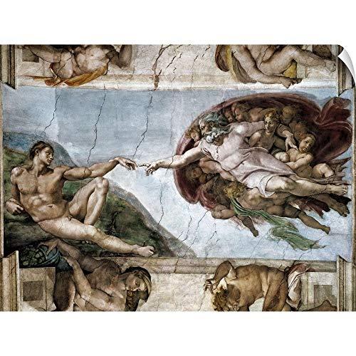 CANVAS ON DEMAND The Creation of Adam, Sistine Chapel Wall Peel Art Print, 30