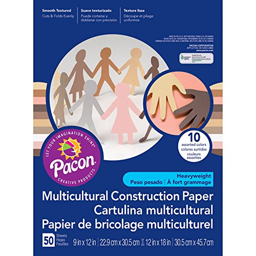 Pacon PAC9512BN Multicultural Construction Paper, 12X18, 50/PK, 3 Packs/CT ()