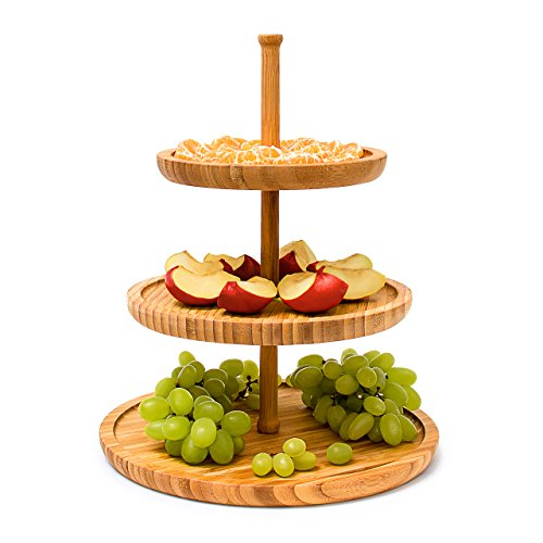 Relaxdays Bamboo Etagere: 37 cm x 30 cm Fruit Etagere Wooden with 3 Round Plates for Cookies, Sweets, Baked Goods, Party-Snacks, Nuts and More, Fruit Plate Serving Dish Tray Platter, - Etagere 3 Tier