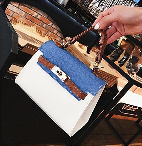 Bandolera Pequeña De Tres De Cuero Bloqueo De La Capacidad Bolsa Colores Mujer De Cuadrado De Moda Bolsa Bolso Pu Color De De Diagonal Contraste La Gran Azul De Cruz qxqFwUR