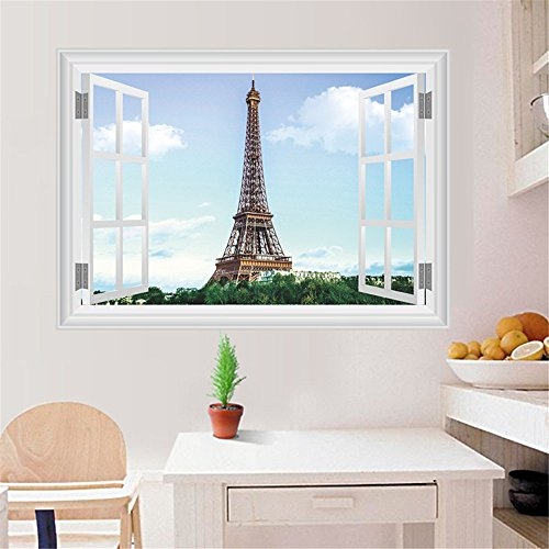 Ghaif 3d Eiffel Tower Simulator window wall decoration Removable For bedroom living room kitchen TV background wall bathroom dormitory office (Toilet Simulator)