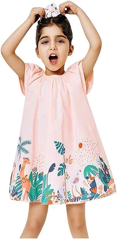 YWLINK Vestido Casual NiñA AlgodóN Sin Mangas De Verano Vestido Estampado Animal De Dibujos Animados Flojo Y Comodo Vestido De Fiesta Lindo Regalo De CumpleañOs De NiñA De 1-7 AñOs: Amazon.es: Ropa