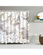 """Mantto Marble Shower Curtains No Liner, Waterproof Polyester Fabric Shower Curtain Fabric Set with Plastic Hooks for Bathroom Decorations Accessories, Modern Concise Design 72"""" x 72"""""""