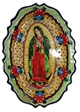 El Relicario de Los Tesoros Talavera Dish With Our Lady of Guadalupe Hand Painted One-of-a-Kind Scarce (Red Roses)