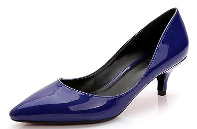 CAMSSOO Damen Spitz, Schwarz - Black Patent PU - Größe: 36 EU