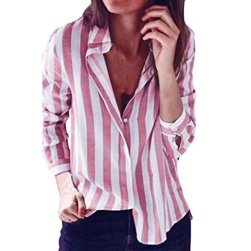YUMM Donna Top,Ladies A Strisce Camicia Sciolto Tops T-Shirt Casuale Camicetta Rosa