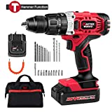 "Cordless Drill/Driver with Hammer Function 20V, 405 In-lbs Power Drill Kit with 1/2"" Keyless Chuck, 2-Speed, 1 Hour Fast Charger, 20+1 Position, 25pcs Accessories, Masterworks For Sale"
