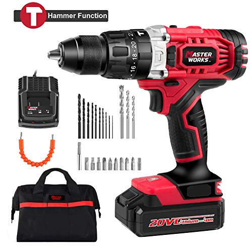 Cordless Drill/Driver with Hammer Function 20V, 405 In-lbs P