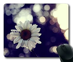 White Daisy Flower Rectangle Mouse Pad by Lilyshouse