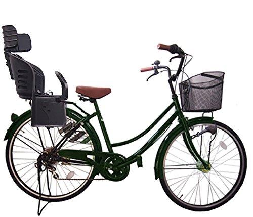 Lupinusルピナス 自転車 26インチ LP-266UA-KNRJ-BK 軽快車 シマノ外装6段ギア オートライト 樹脂製後子乗せブラック B073LW4BBF グリーン グリーン
