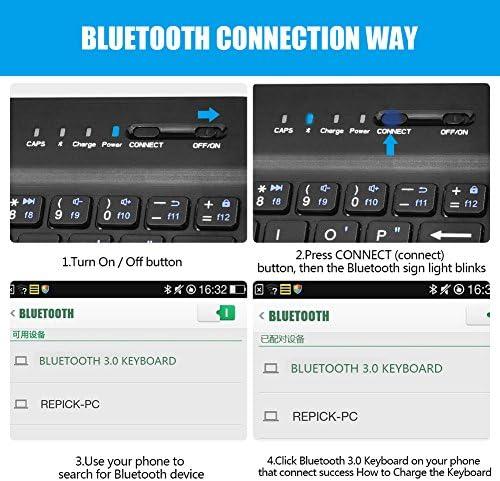 VBESTLIFE Clavier sans Fil Universel 2-en-1, Kit Clavier de Bluetooth avec Etui en Cuir PU et Le Support pour Les Téléphones iOS/Android.(Noir)