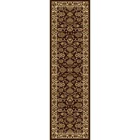 KAS Oriental Rugs Lifestyles Collection Kashan Runner, 23 x 77, Mocha/Ivory