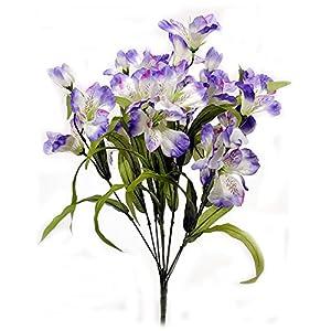Artificial Alstroemeria Flower Bush - Purple 21