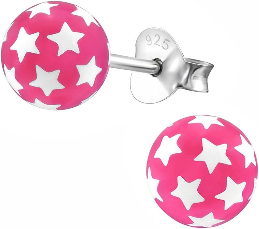 Laimons Pendientes para mujer Esfera con estrellas Rosa Plata de ley 925