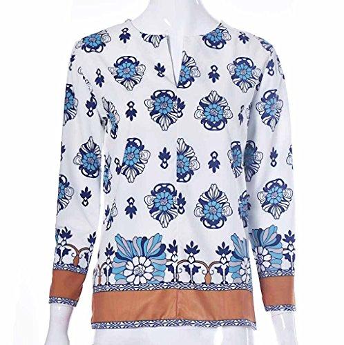 Tonsee® Chemisiers femmes V cou Floral chemise à manches trois-quarts