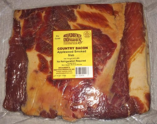 Salt Cured Bacon - Old-Fashioned Country Cured and Smoked Applewood Slab Bacon 4 to 5 Lbs