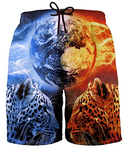 Hgvoetty Boys Swim Trunks Print Funny Graphic Board Shorts with Mesh Lining L