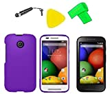 Phone Cover Case Cell Phone Accessory + Extreme Band + Stylus Pen + LCD Screen Protector + Yellow Pry Tool For Straight Talk Tracfone NET10 Motorola Moto E XT830C (Purple)