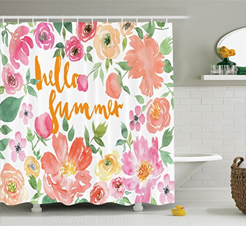 Border Rose Realistic (Ambesonne Summer Decor Collection, Flower Rose Wreath Classic Frame Border with Hello Summer Note Congratulation Event Image, Polyester Fabric Bathroom Shower Curtain, 75 Inches Long, Pink Coral Green)