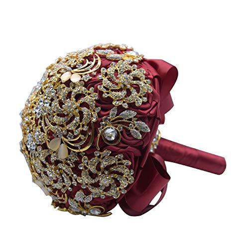 TaeHyung Luxury Wedding Bouquet Crystal Bridal Bouquet Wedding Brooch Bouquet Jeweled Wedding Bouquet S42,Red