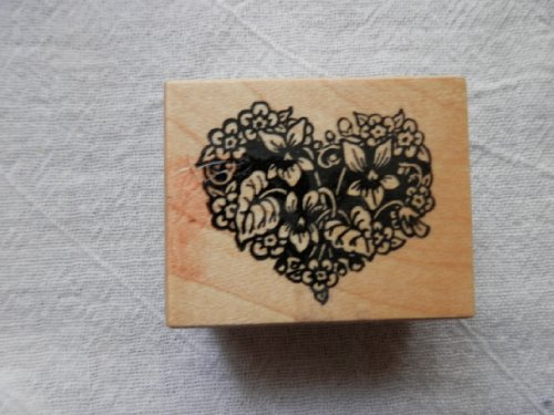 Flower Heart Rubber Stamp on Wood Mount