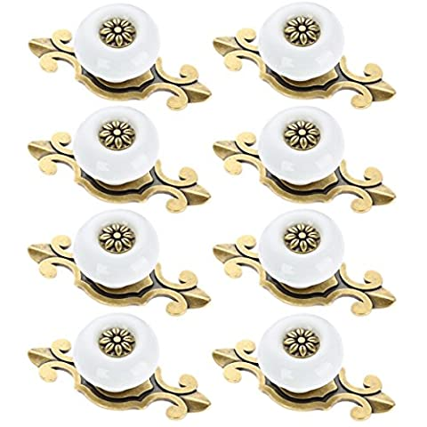 Corasays 2 IN 1 Vintage Ceramic Drawer Cabinet Knobs and Pulls for DIY Home Furniture Cabinet Dresser Cupboard Bin Door Handles, Pack of 8 - Little One Drawer Pulls