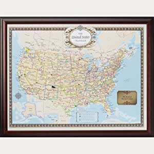 Personalized and Framed United States Travel Map Set