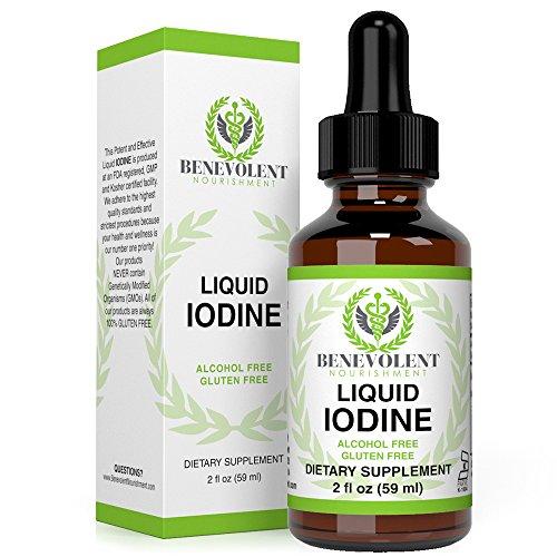 Liquid Iodine Potassium - 1300 Servings | Large 2oz Bottle | Great Taste | 2X Absorption. Just One (1) Potent & Effective Drop a Day for Thyroid Support. 100% Alcohol ()