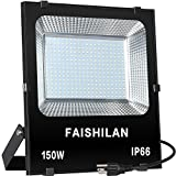 FAISHILAN 150W LED Flood Light Outdoor IP66 Waterproof with US-3 Plug 15000Lm for Garage,Garden,Yard