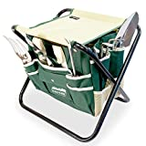 GardenHOME Folding Stool with Tool Bag and 5 Tools Garden Tool Set All-in-one