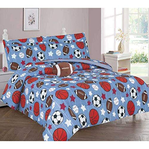 (Golden Quality Bedding 3-Piece or 4-Piece Printed Modern Design Kids' Bed in a Bag Set (Game Day, Full))