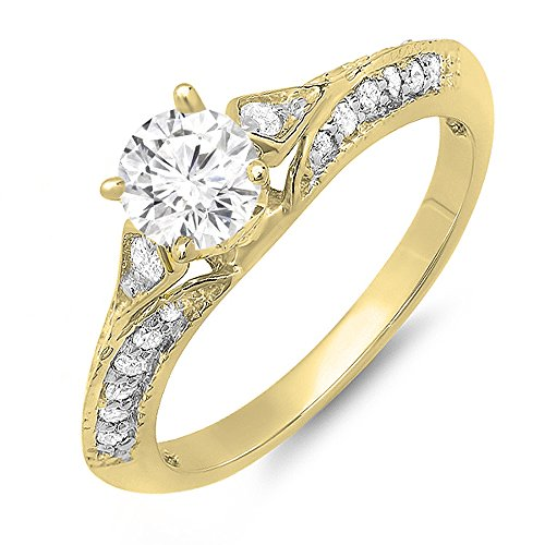Dazzlingrock Collection 14K Moissanite & White Diamond Solitaire with Accents Bridal Engagement Ring, Yellow Gold, Size 4.5 ()