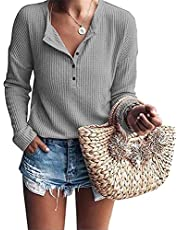 Jhsnjnr Women's Henley Shirts Knit Long Sleeve Button Up Waffle Warm Pullover Tunic Tops