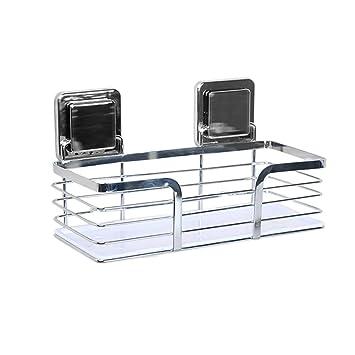 WEDsign Adhesivo Estantes Cesta para Ducha Estanteria Organizador Baño SUS304 Acero Inoxidable Sin Taladro - 11.5 x 4.2 x 5 Inch
