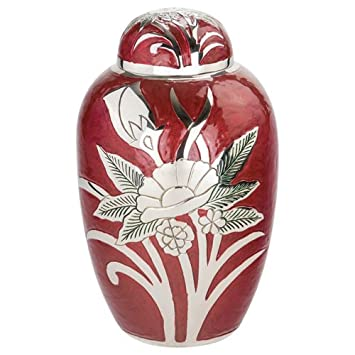 Silverlight Urns Grand Rose Brass Urn in Scarlet Red, Flower, 10.5 Inches Tall