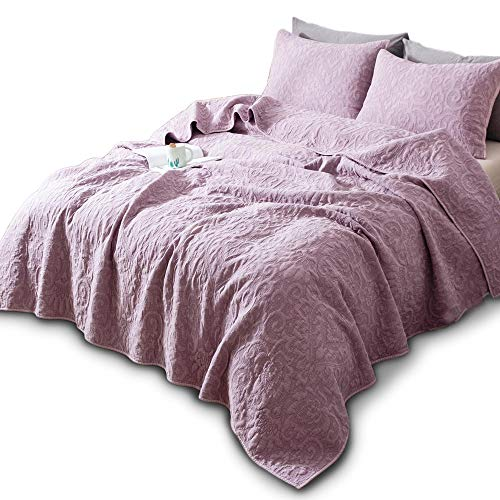 - DOMDEC Stone Washed Quilt Mini Set Cozy Soft Embroidery Stitching Covrlet Set 100% Cotton Light Weight Comforter Set (Purple, Queen Set)