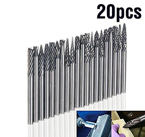 20pcs Solid Carbide Burr Set 0.118 Inch Shank Tungsten Carbide Rotary Files Burrs with 3mm Cutting Head diameter Fits Most Rotary Drill Die Grinder Perfect for Jewelry Repair/Woodworking/Engraving by JEWELS FASHION (Image #5)