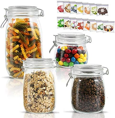 Airtight Glass Storage Jars with Clip Lid Top Clear Canister for Oats Canning Cereal Pasta Sugar Coffee Nuts Spices Set of 4 Food Preserve Container Jars with 15 Pcs Reusable Food Storage Bags