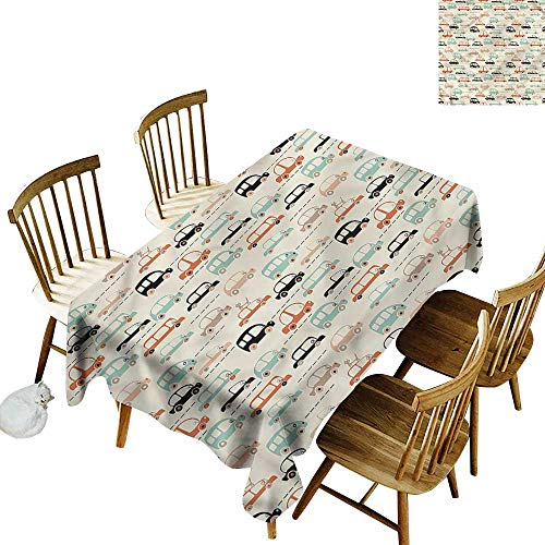 Sillgt Anti-Fading Tablecloths Cars Cat on Old City Highway Party Decorations Table Cover Cloth 60