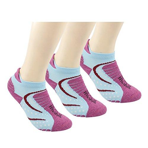 Women Padded Low Cut Quarter Outdoor Socks Hiking/Camping/Walking/Running Performance Quick Wicking Dri-fit 3 Pairs Water Blue&Rose Red (Dri Fit Performance Tab)