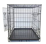 YML Double Door Dog Kennel Cage with Plastic Tray No Bottom Wire, 36-Inch, Black For Sale