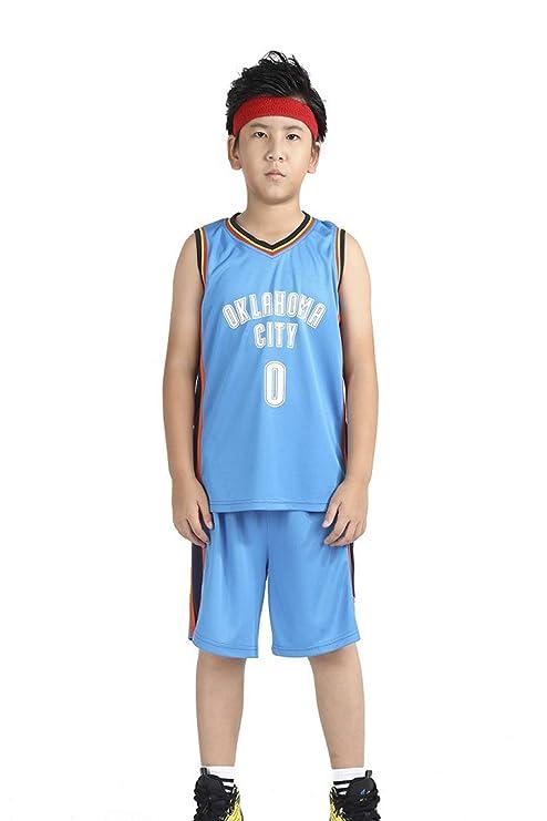 GRYUEN Niño Ropa de Baloncesto NBA Thunder 0# Westbrook Jersey ...