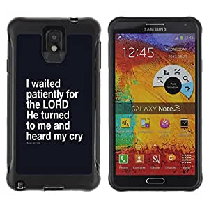 Suave TPU Caso Carcasa de Caucho Funda para Samsung Note 3 / BIBLE I Waited Patiently For The Lord - Psalm 40:1 / STRONG