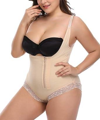 1fc9e6cfcc Lealac Women s Mid Thigh Open Bust Bodysuit Shapewear Tummy Control Plus  Size Zipper Full Body Shaper