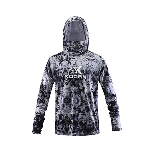 Light Blue Performance Fishing Hoodie with Face Mask Hooded Sunblock Large