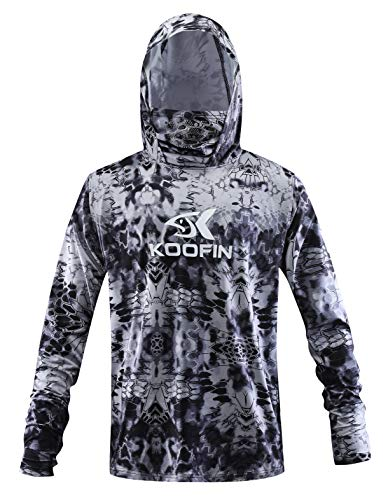 Performance Fishing Hoodie with Face Mask Hooded Sunblock Shirt Sun Shield Long Sleeve Shirt UPF 50 Dry Fit Quick-Dry Black ()