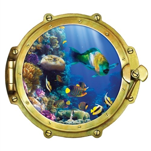 Walls 360 Peel & Stick Wall Decals: Window Views Tropical Fish (12 in x 10.75 in)