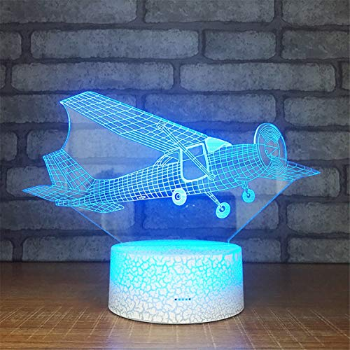 Bella House Lovely Visual Airplane 7 Colors Changing Optical Illusion Night Light Crackle Paint Base 3D Glow LED Touch Table Desk Lamps Art Sculpture Beside Lights Toy Gift with Acrylic Flat