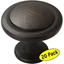 "Amazer Round Knobs, Oil Rubbed Bronze Traditional Cabinet Hardware Round Pull Knob with Random Lines - 1-1/4"" Diameter - 20 Pack"